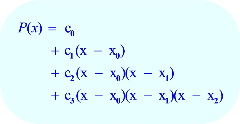 Formula for Newton Polynomial:  four data points:  (x_0, y_0); (x_1, y_1); (x_2, y_2) and (x_3, y_3)