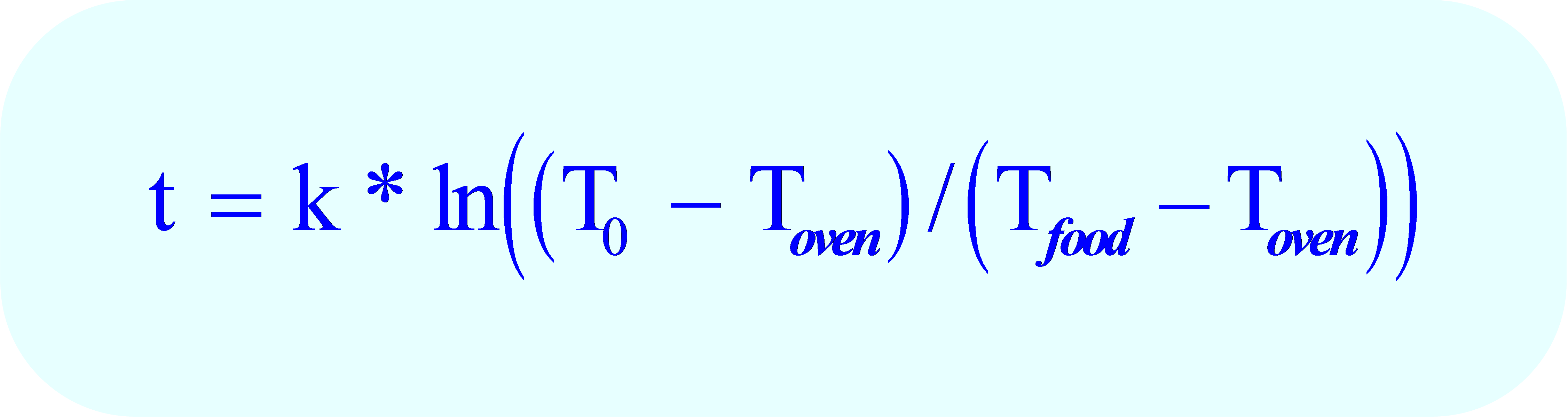 formula for Newton's Law of Heating