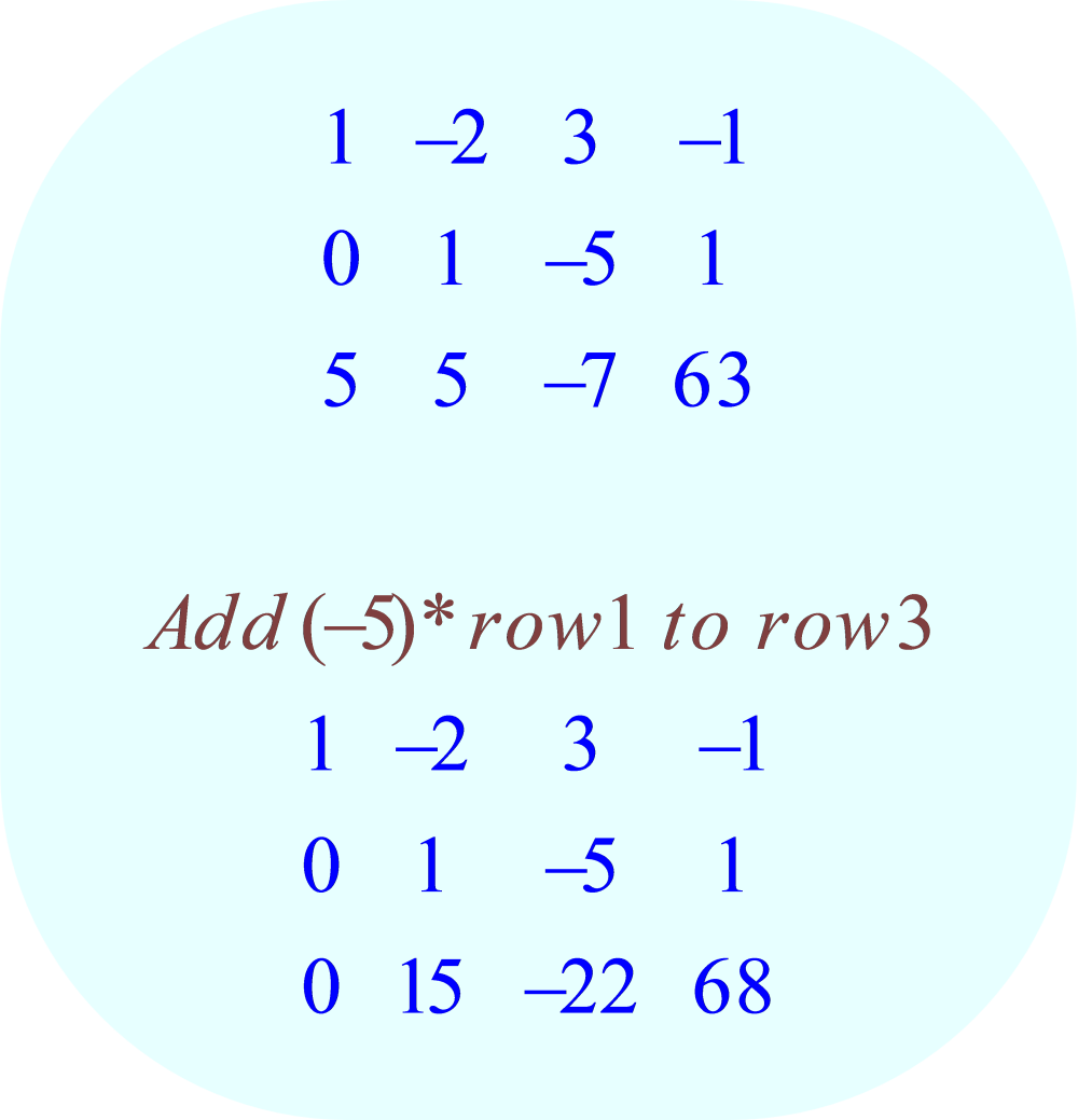 gauss-jordan elimination method - 03 - row-operation:  add (-5)*row 1 to row 3;  -3x + 6y - 9z = 3, x - y - 2z = 0, 5x + 5y - 7z = 63
