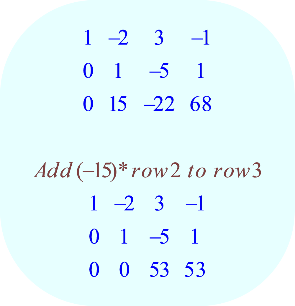 gauss-jordan elimination method - 04 - row-operation:  add (-15)*row 2 to row 3;  -3x + 6y - 9z = 3, x - y - 2z = 0, 5x + 5y - 7z = 63