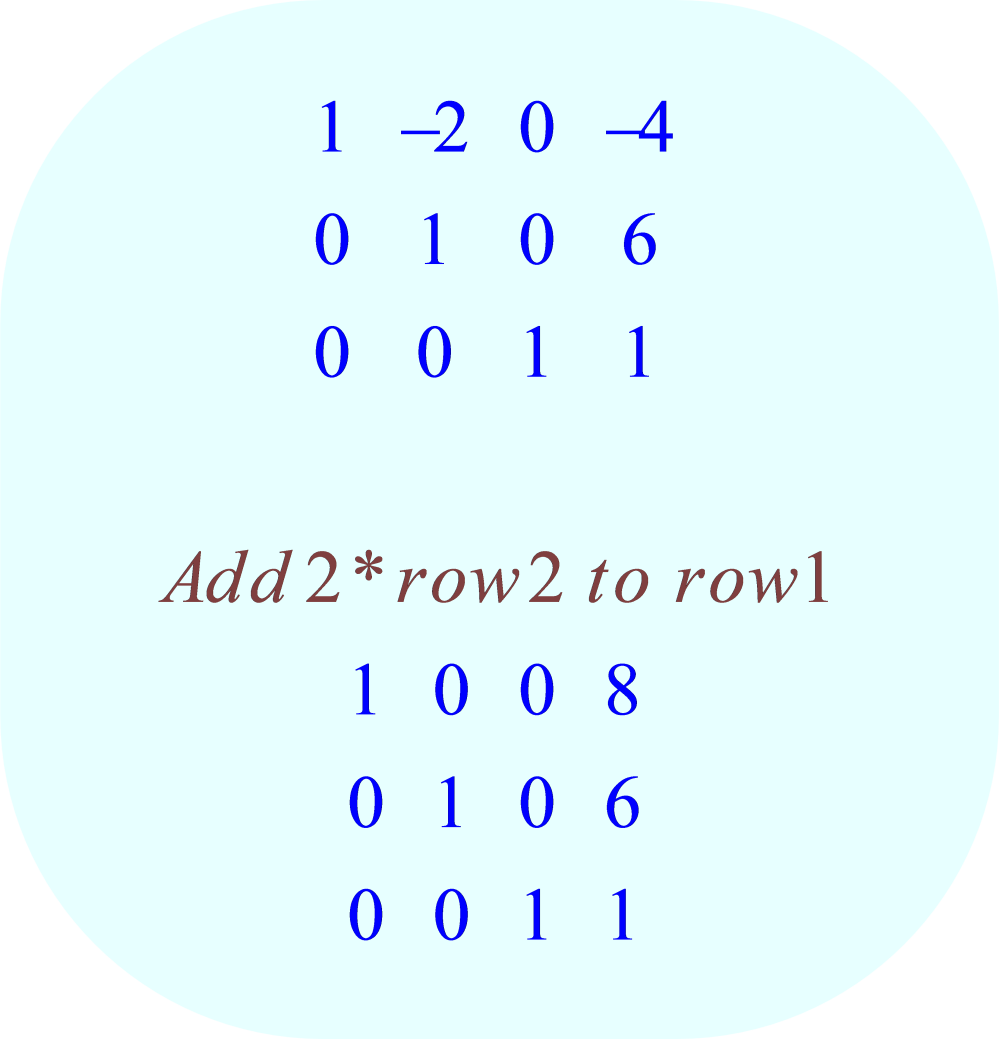 gauss-jordan elimination method - 08 - row-operation:  add 2*row 2 to row 1;  -3x + 6y - 9z = 3, x - y - 2z = 0, 5x + 5y - 7z = 63