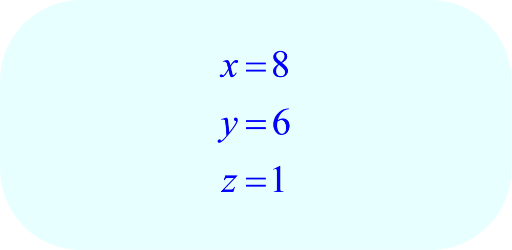 guass-jordan elimination method - final solution to:  -3x + 6y - 9z = 3, x - y - 2z = 0, 5x + 5y - 7z = 63