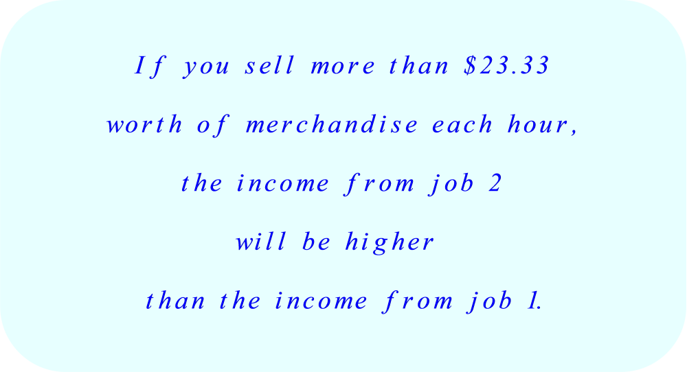 The income from Job 2 is higher than the income from Job 1