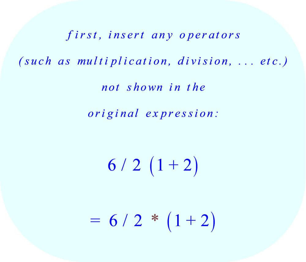 insert any operators not shown in the original expression