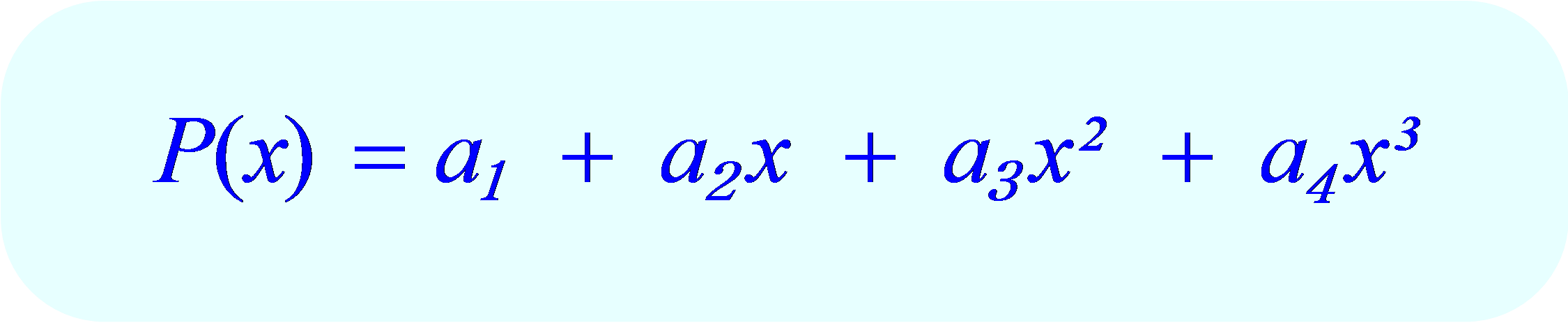 Interpolating Polynomial:  standard form for 4 data points.