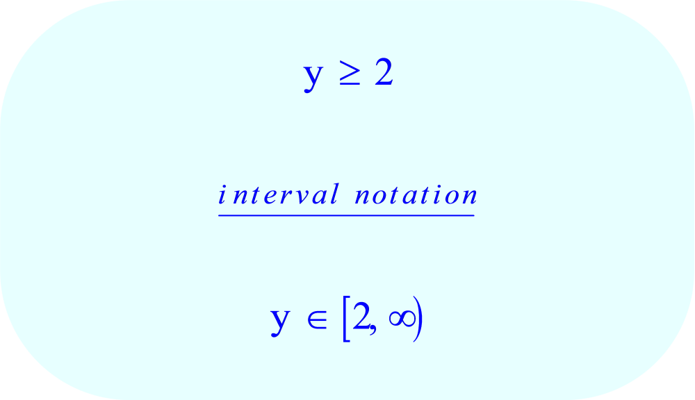 Interval Notation - Compound Inequality - final solution:  y  ≥ 2