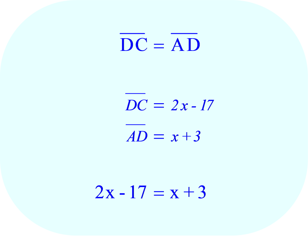The variable expressions for DC and AD are equal