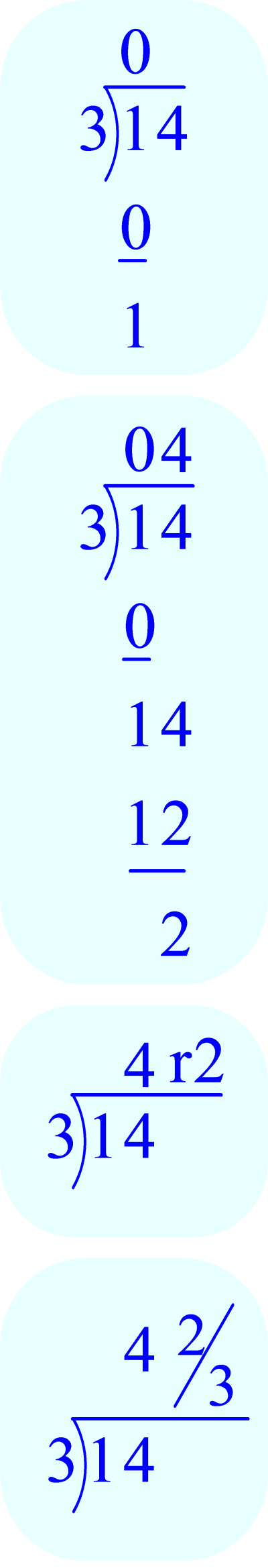 Long Division – showing answer as a mixed number