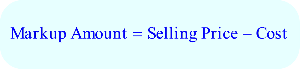Math – Markup Amount, formula