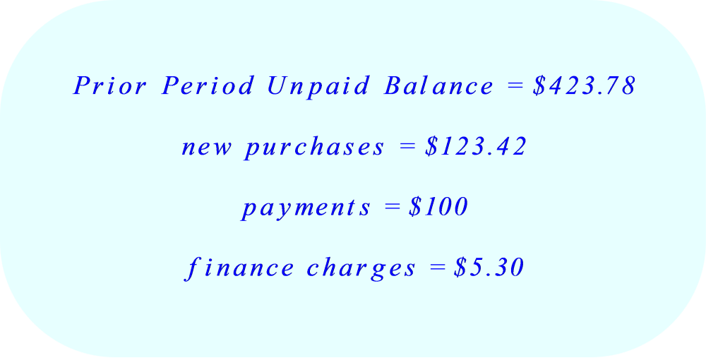 Credit Card - prior period unpaid balance, new purchases, payments, and finance charges