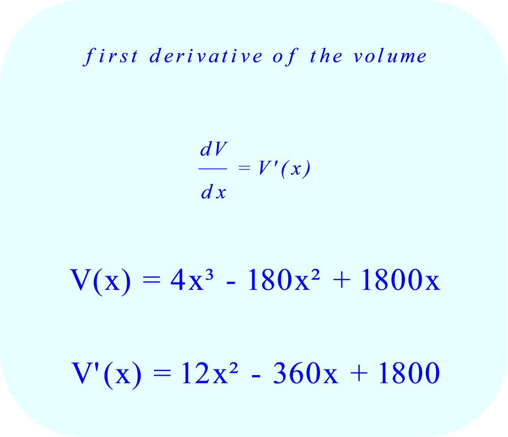 Maximum volume of box as a function of dimensions - first derivative