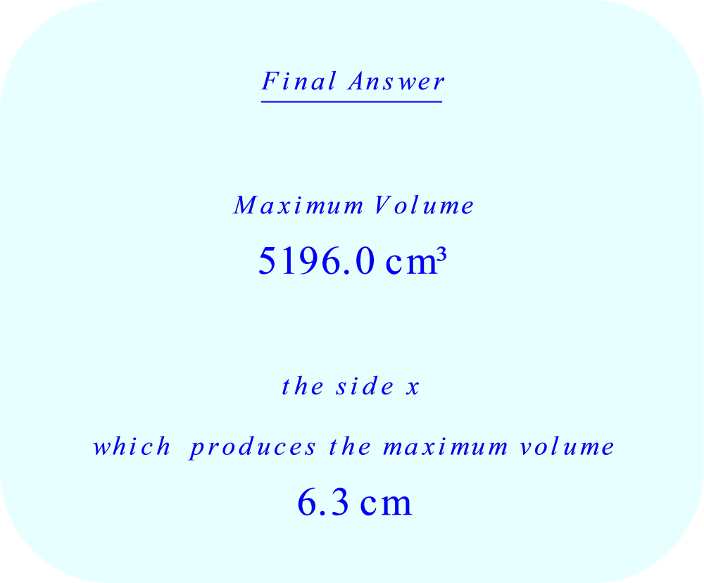 Maximum volume of box - final answer