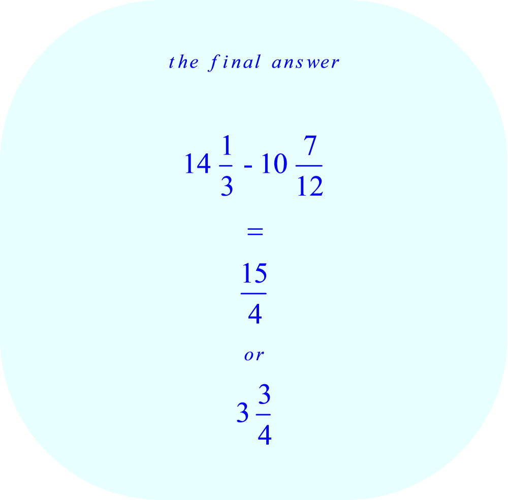 Subtraction of mixed numbers - final answer