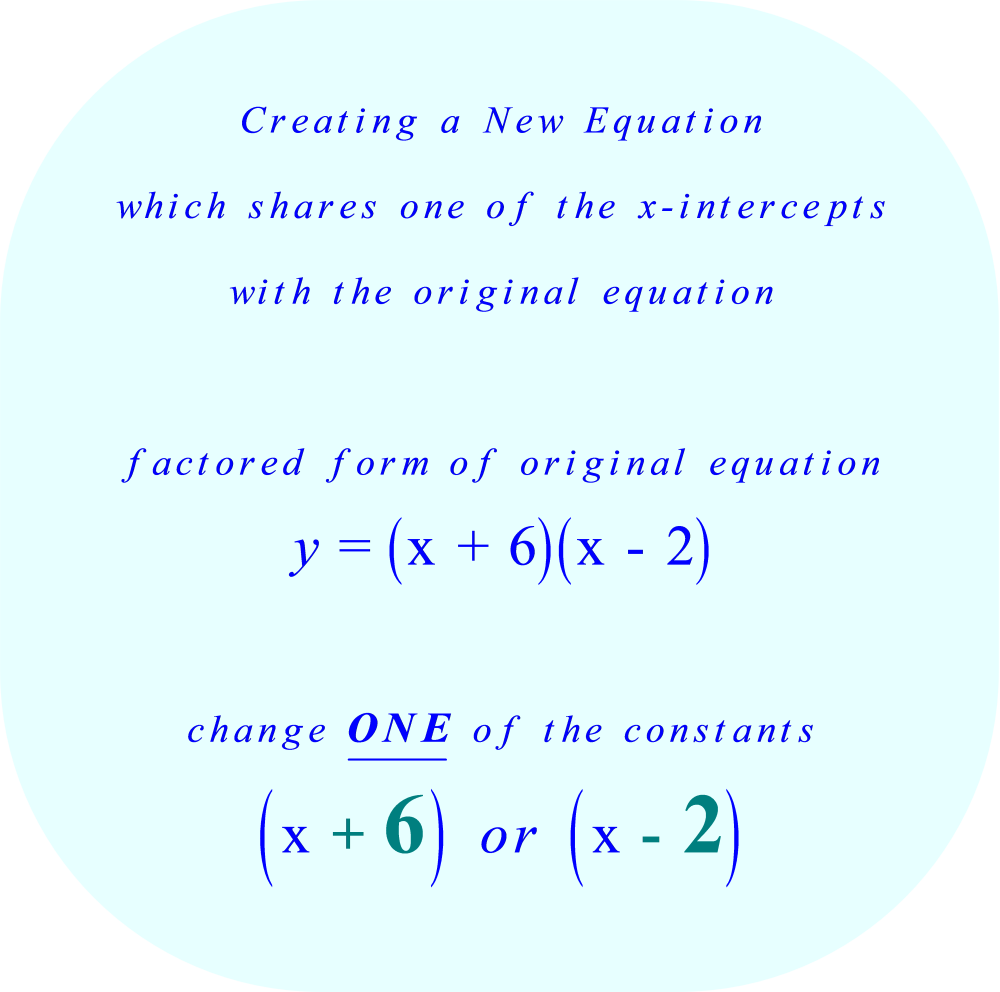 To create a new equation which shares one of the x-intercepts with the original equation, change one of the constants