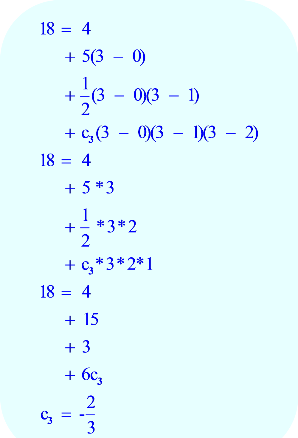 Formula for Newton Polynomial:  (x_3, y_3), compute the coefficient c_3
