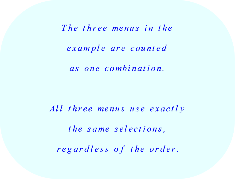 statistics of permutations and combinations these three menus are counted as one combination all three menus use exactly the same
