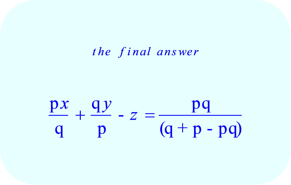partial differential equation for the family of planes – final answer