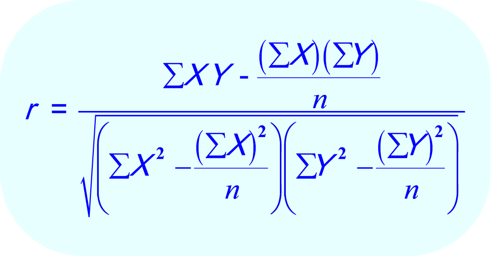 The formula for calculating the Pearson Correlation Coefficient