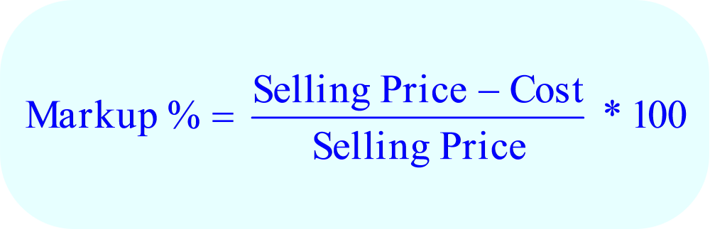 Math – formula for Markup on Selling Price