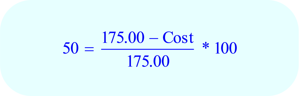 Math – percent Markup, solve for cost - step A