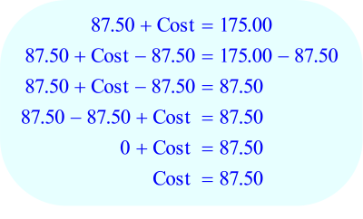 Math – percent Markup, solve for cost - step F
