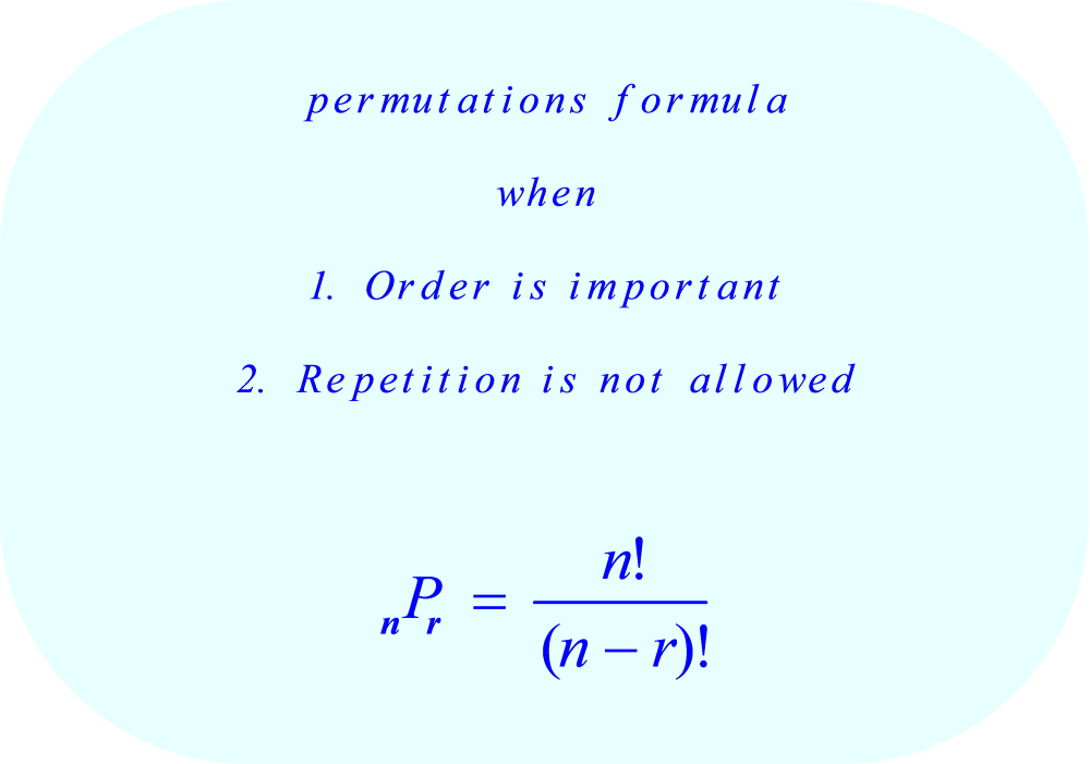 Permutations formula:  order is important, and repetition is not allowed.