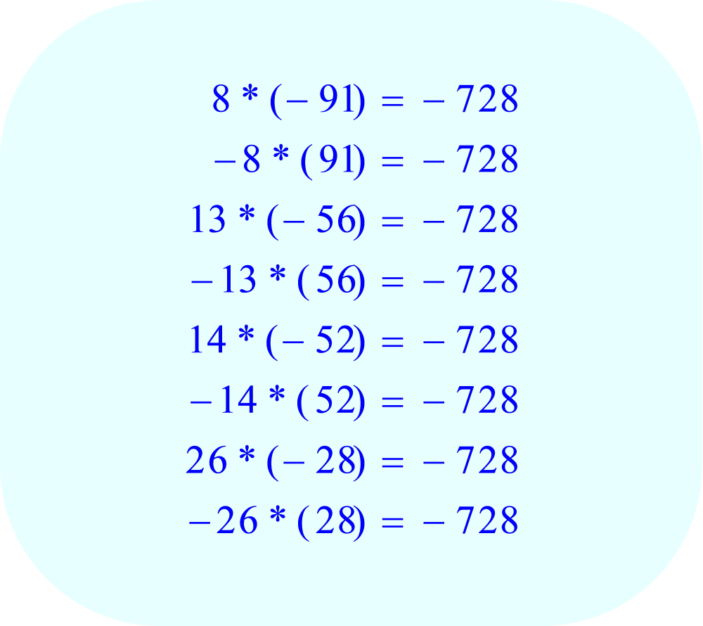 Factors of the number -728, the constant C in the quadratic equation, part 2