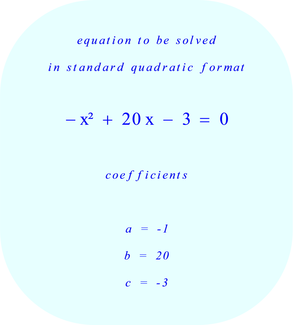 Quadratic Equation to be solved: 