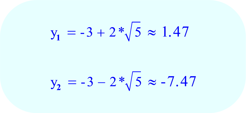 Complete the arithmetic to find the two values of y