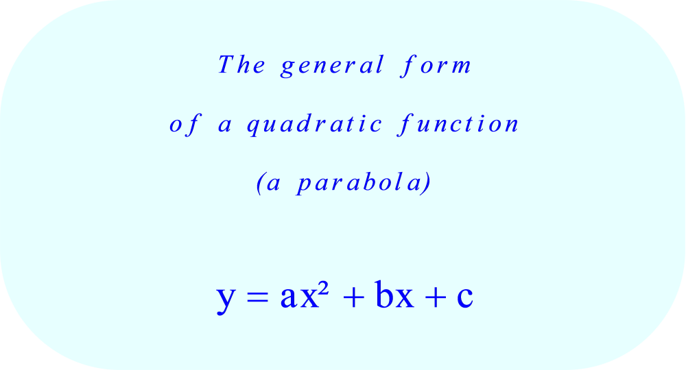 unique quadratic equation in the form y = ax^2 + bx + c
