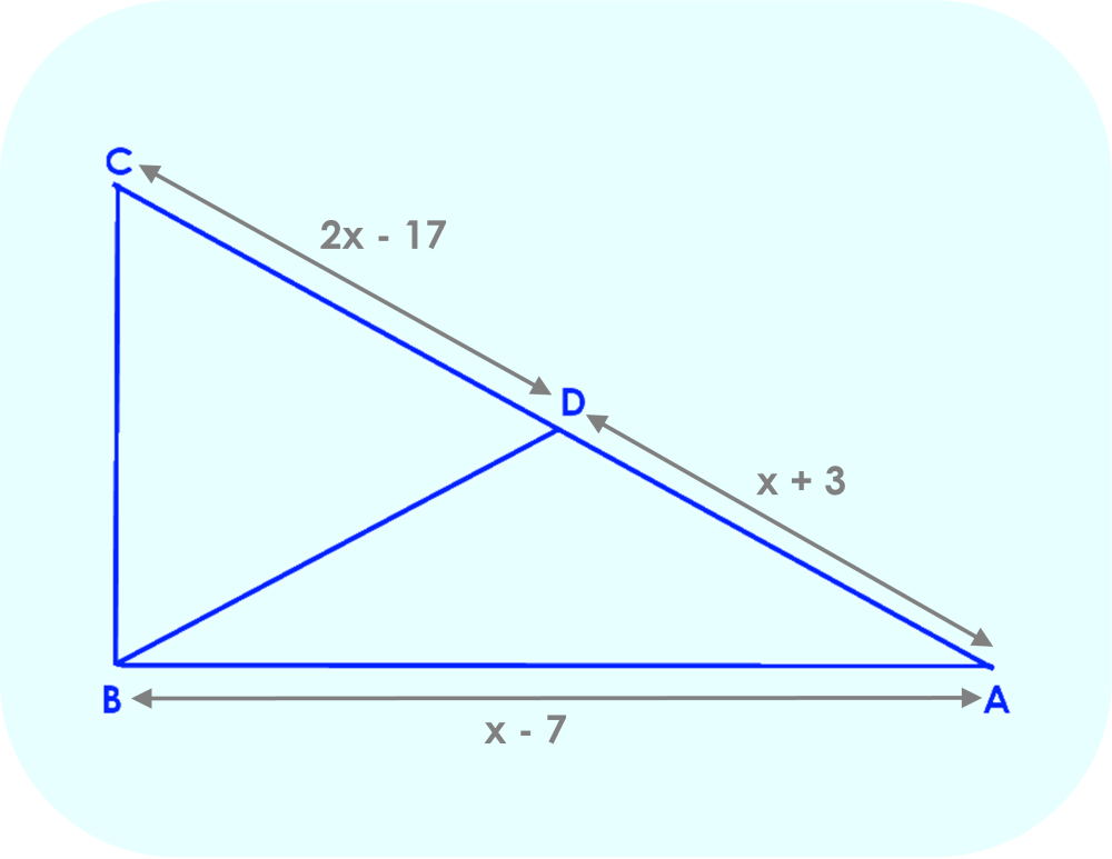 Right Triangle ABC, showing line segments as a function of x