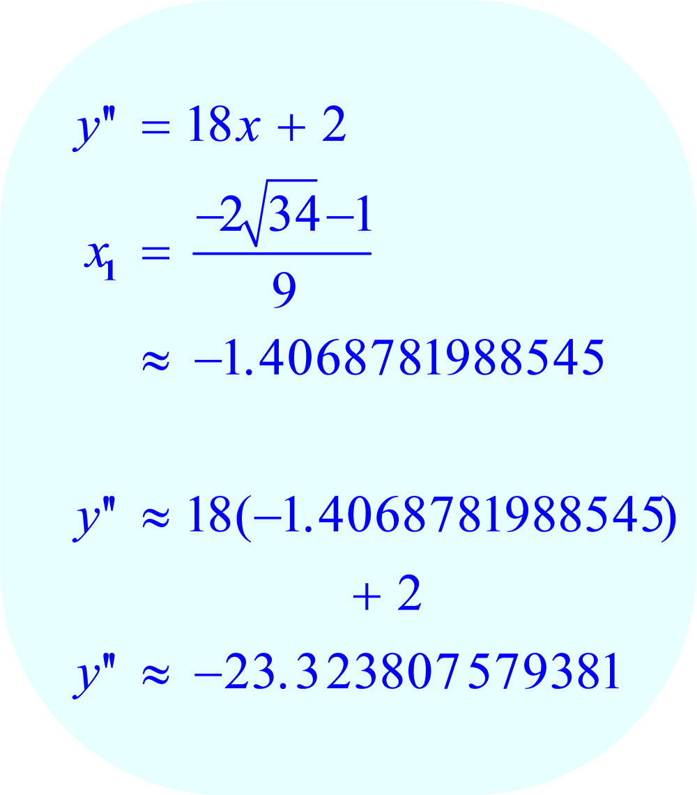Second Derivative Test applied to critical point x_1 of f(x) = 3x³ + x² - 15x + 2