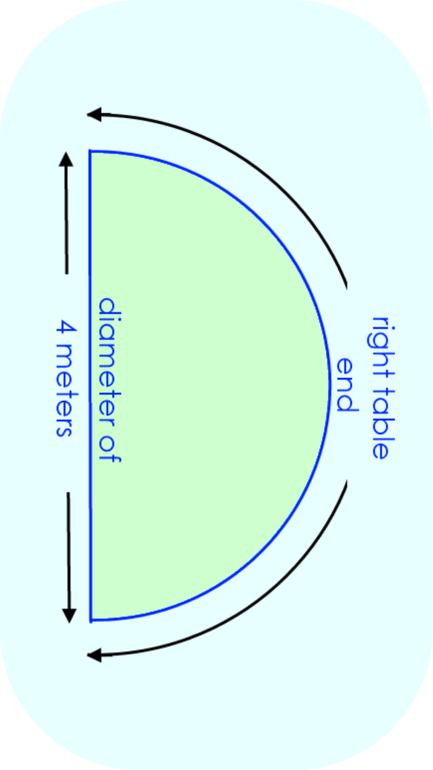 right semi-circular table end