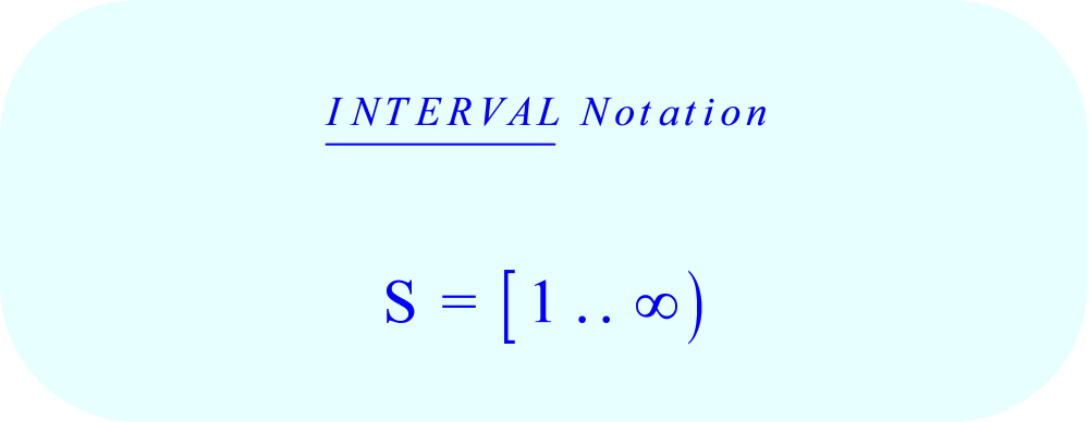 Representing the set S (of all natural Numbers, ℕ) in  Interval Notation