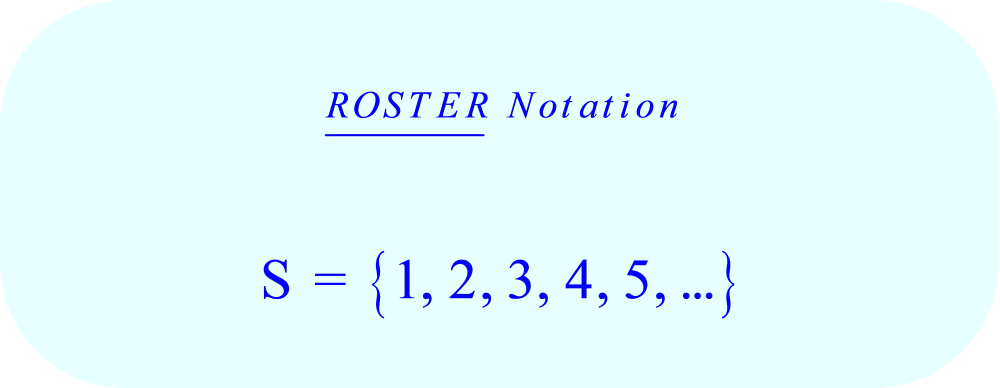Representing the set S (of all natural Numbers, ℕ) in Roster Notation