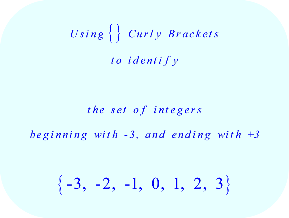 Set Notation using Curly Brackets - identify the set of all integers from -3 to +3, inclusive