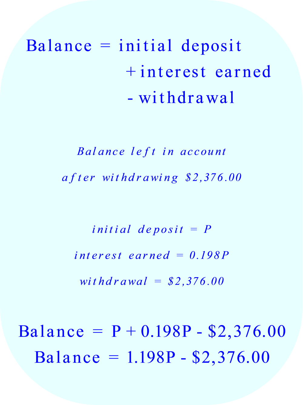 Simple Annual Interest:  account balance after withdrawal