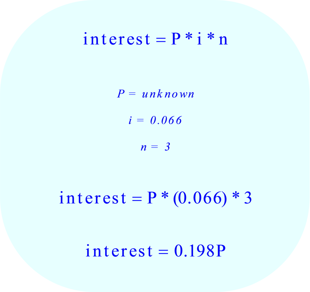 Simple Annual Interest:  insert values in formula