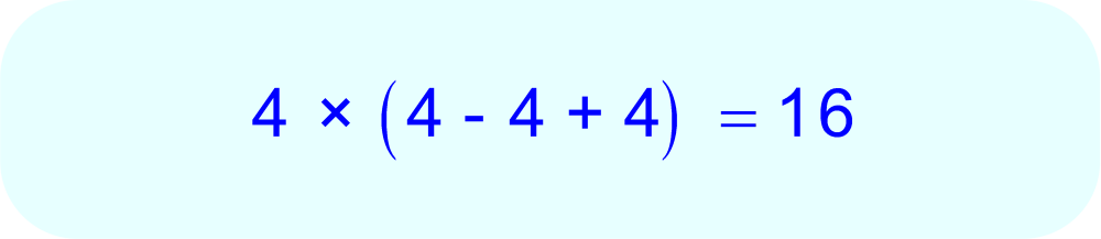 Evaluation of 4 × (4 - 4 + 4) using PEMDAS. 