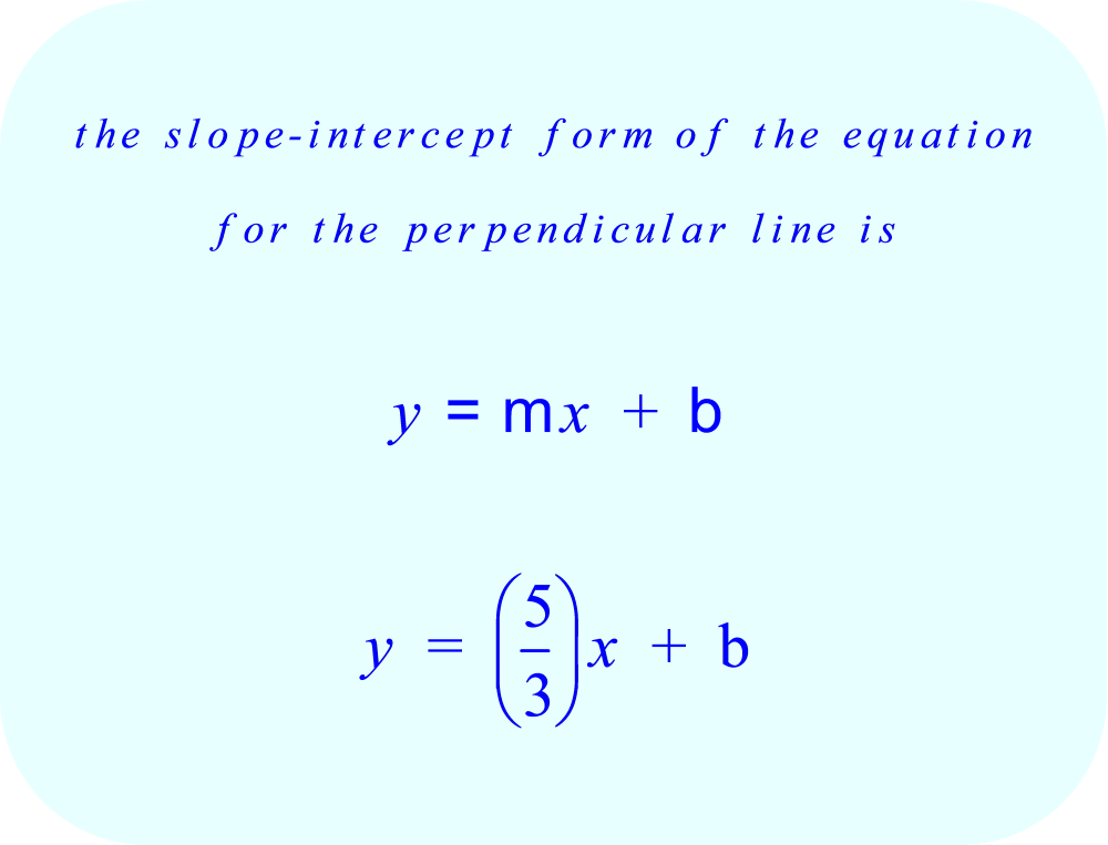 the slope-intercept form of the equation for the perpendicular line