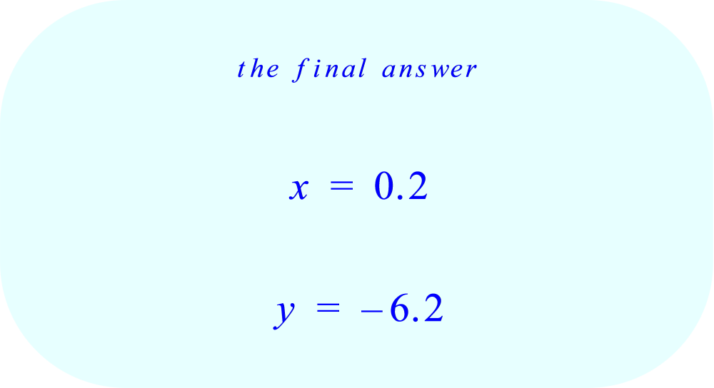 Linear System of two equations solved by substitution – final answer