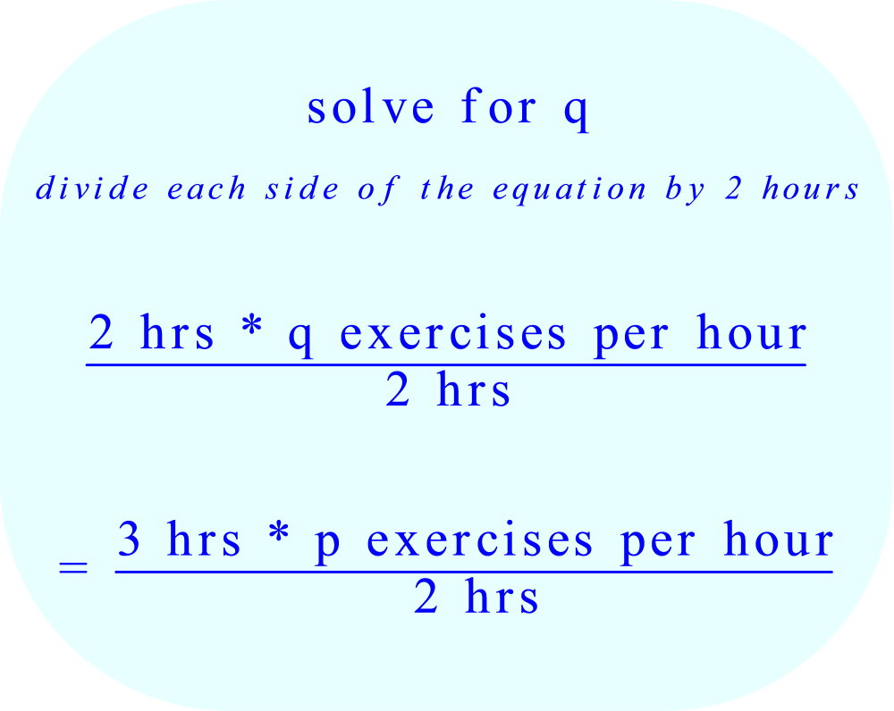 solve equation for q:  divide each side of the equation by 2 hours 