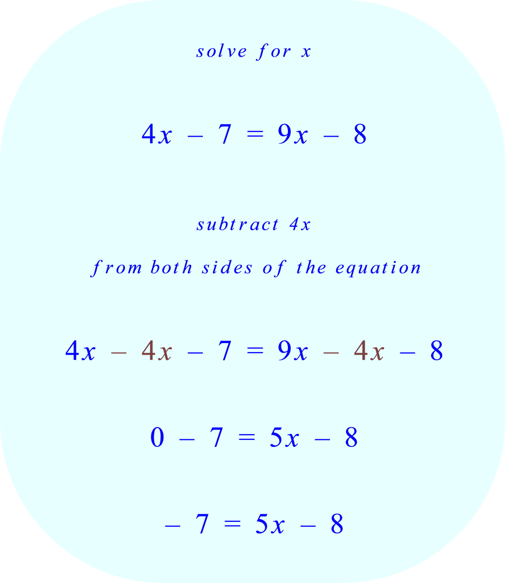 Solve for x.  Begin by subtracting 4x from both sides of the equation.