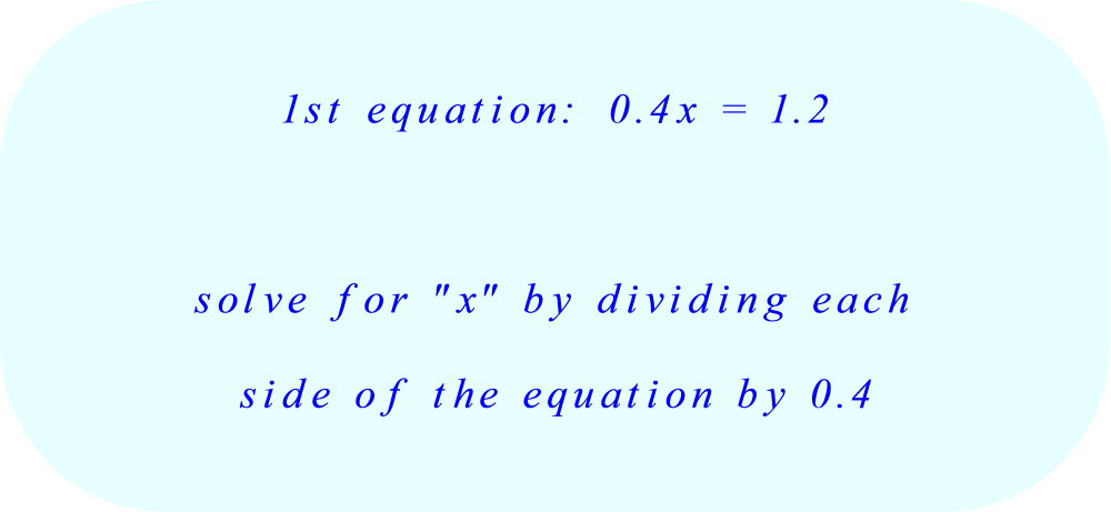 solve the first equation for x:  part A