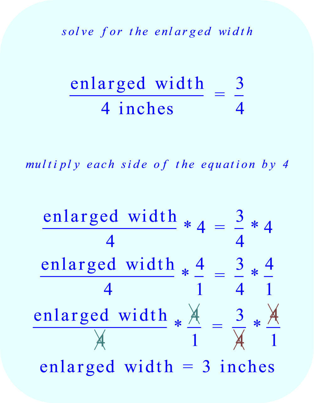 solve for the enlarged width