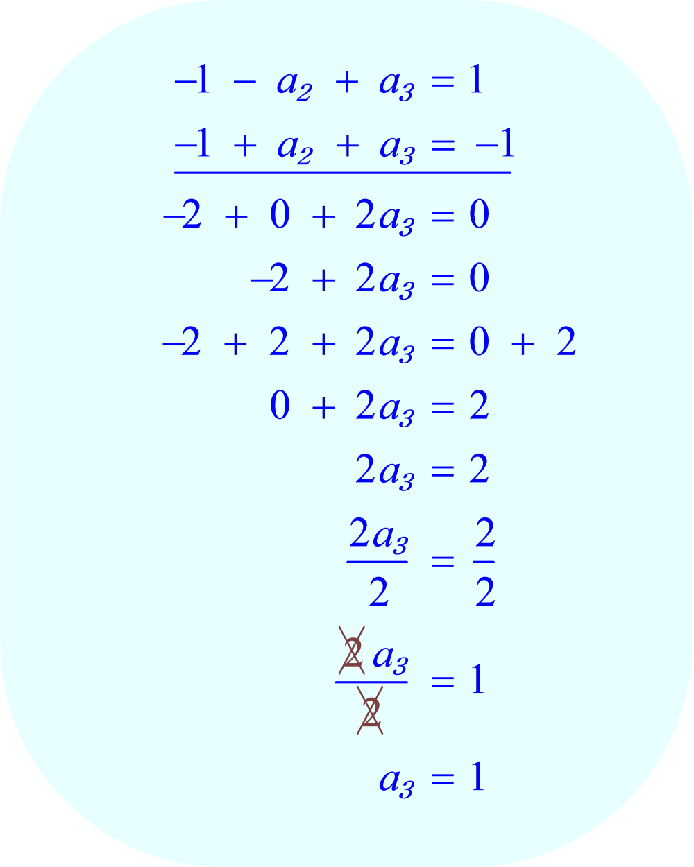 Solve for a_3 using addition (elimination).