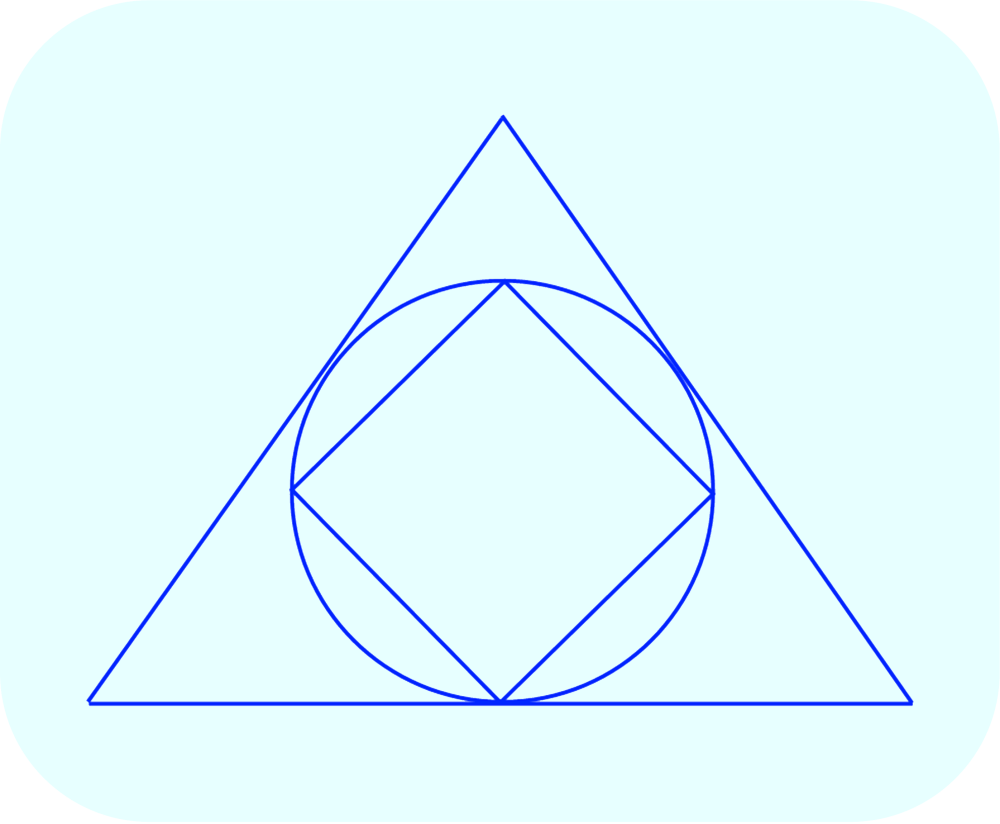 A square is inscribed in a circle which is inscribed in a equilateral triangle