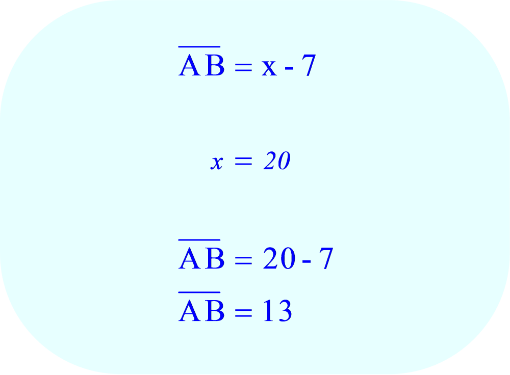 Substitute 20 for x in the variable expression for AB.