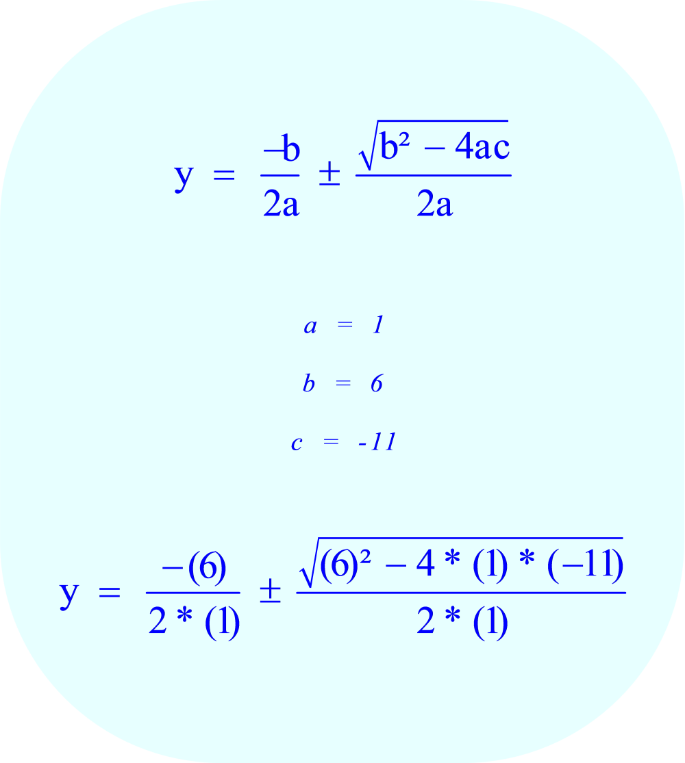 Substitute the values of the coefficients a, b, and c into the quadratic formula.