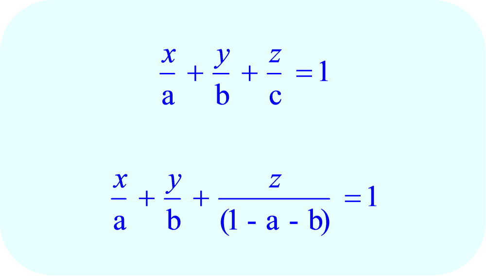 Substitute  (1 – a - b) for c in the equation for the family of planes